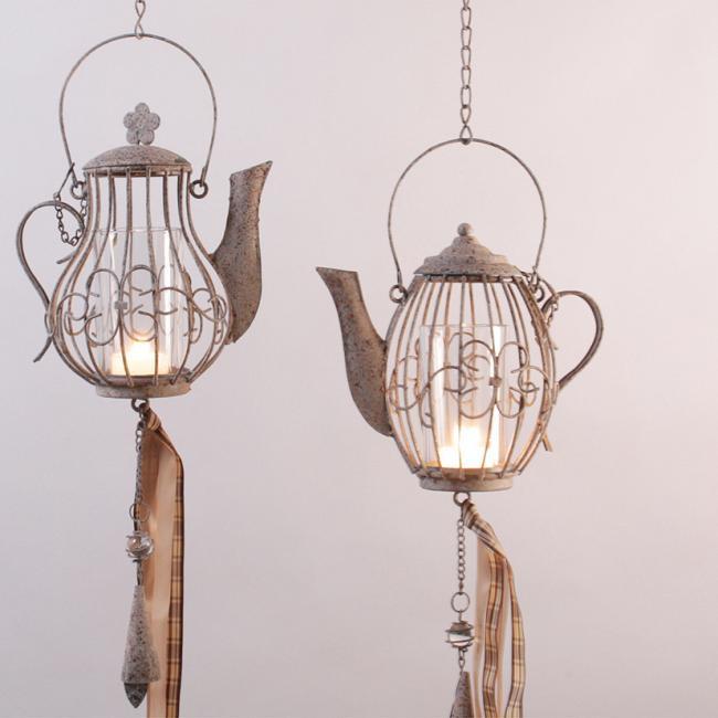 Teelichthalter h nge windlicht kaffeekanne rostoptik for Windlicht rostoptik