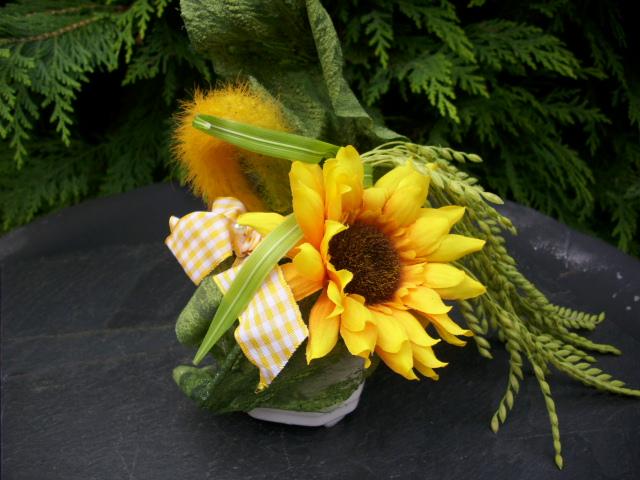 blumengesteck tischgesteck im topf sonnenblume weizen gelb orange ebay. Black Bedroom Furniture Sets. Home Design Ideas