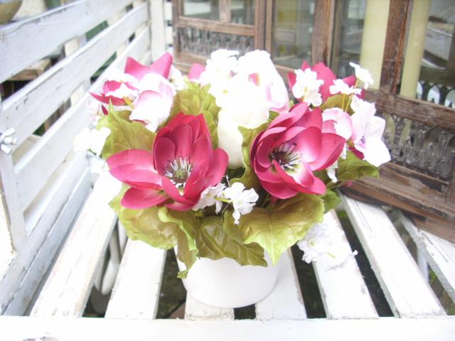 blumengesteck im topf anemone chrysantheme tischdeko kunstblume fensterdeko ebay. Black Bedroom Furniture Sets. Home Design Ideas