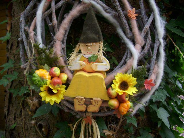 T rkranz sonnenblumen 31cm k rbis dekofigur holz t rdeko for Herbstdeko kurbis