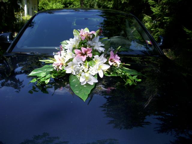 BLUMENGESTECK Autoschmuck Tischdeko LILIEN rosa weiss HOCHZEIT  eBay
