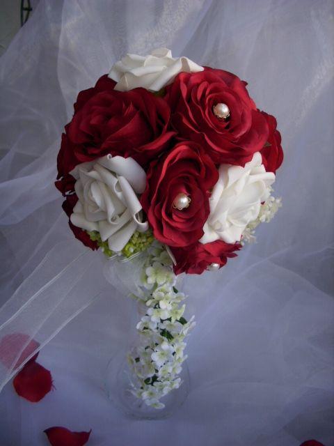 Details zu Edler BRAUTSTRAUSS Blumenstrauss Rosen weiss rot Perlen ...
