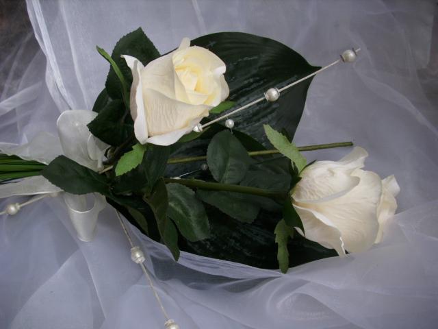 BRAUTSTRAUSS Rose creme Perlen Wurfstrauss Standesamt HOCHZEIT