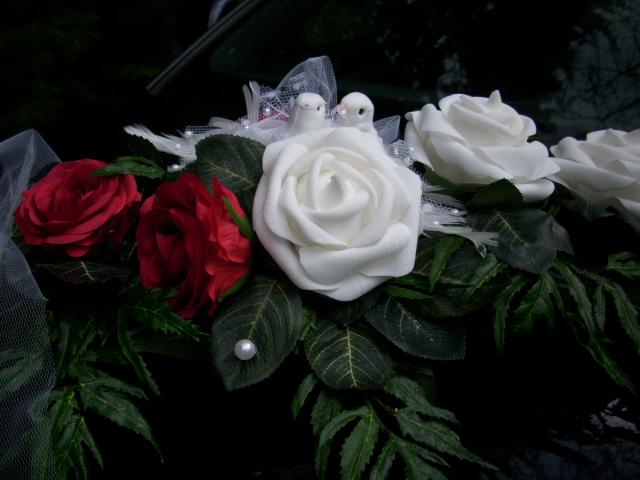AUTOGESTECK Tischdeko Autoschmuck weiss rot Rose Taube HOCHZEIT  eBay