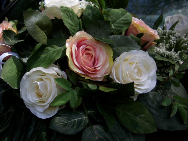 Details zu AUTOGESTECK Tischdeko Autoschmuck ROSE weiss rosa HOCHZEIT