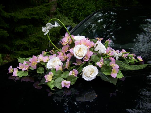 ... Tischdeko Autoschmuck Rose creme Bougainville rosa HOCHZEIT  eBay