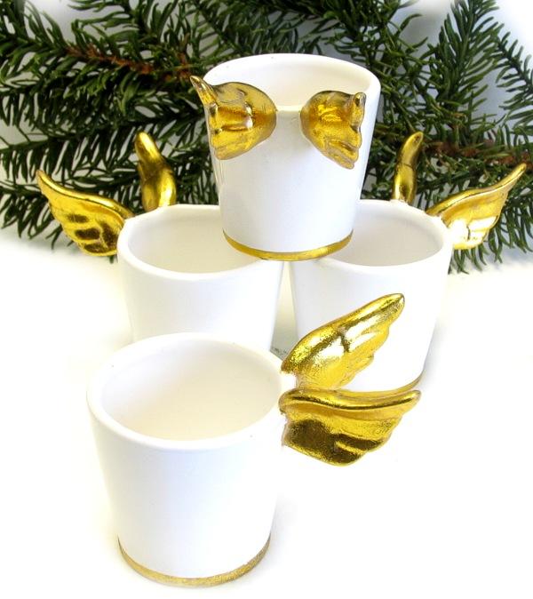 4x blumentopf bertopf porzellan 10cm weiss fl gel gold for Tischdeko blumentopf