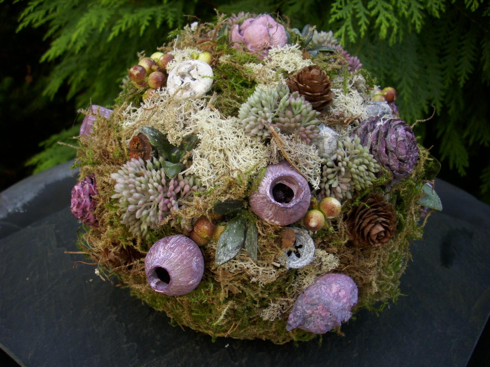 grabschmuck blumenkugel lila grab gesteck kugel exote waldfriedhof allerheiligen ebay. Black Bedroom Furniture Sets. Home Design Ideas