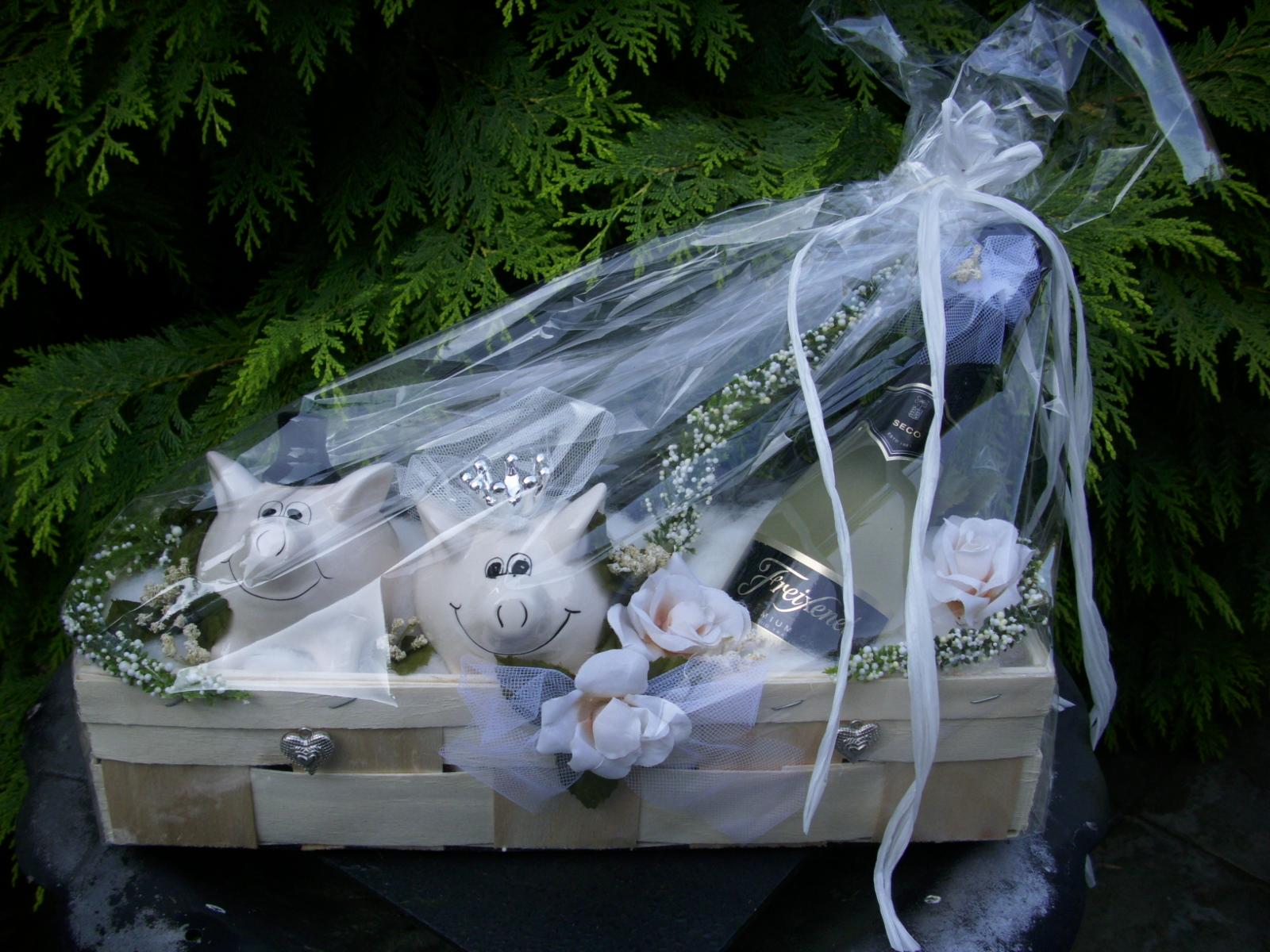 geschenkkorb pr sentkorb rose creme sparschwein piccolo geschenk hochzeit ebay. Black Bedroom Furniture Sets. Home Design Ideas